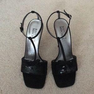Badgley Mischka Black Sequin Sandal Heels Size 37